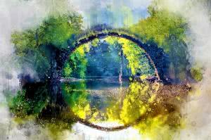 round bridge painting
